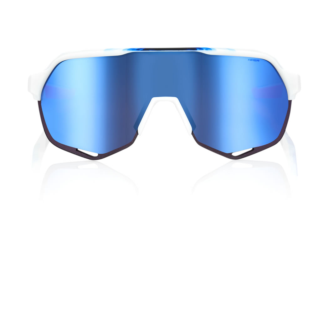 S2 – Matte White / Sublimated Geo Pattern – HiPER Iceberg Blue Mirror Lens