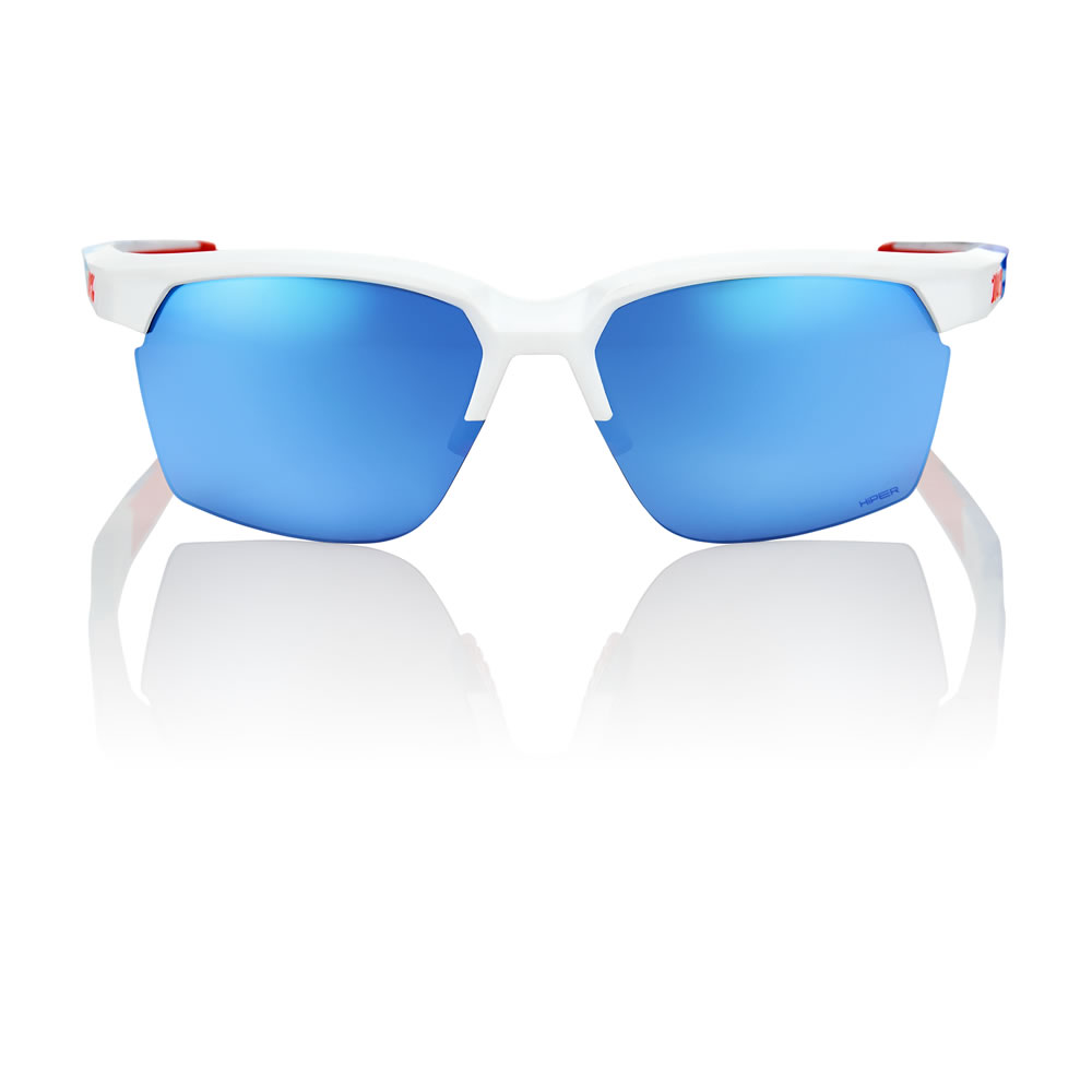 SPORTCOUPE – Polished White / Sublimated Geo Pattern – HiPER Iceberg Blue Mirror Lens