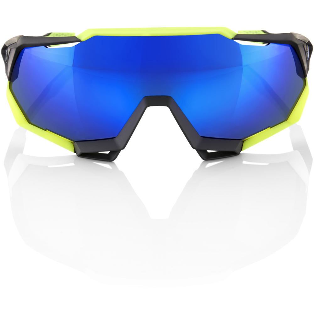 SPEEDTRAP – Polished Black Matte Neon Yellow – Electric Blue Mirror Lens