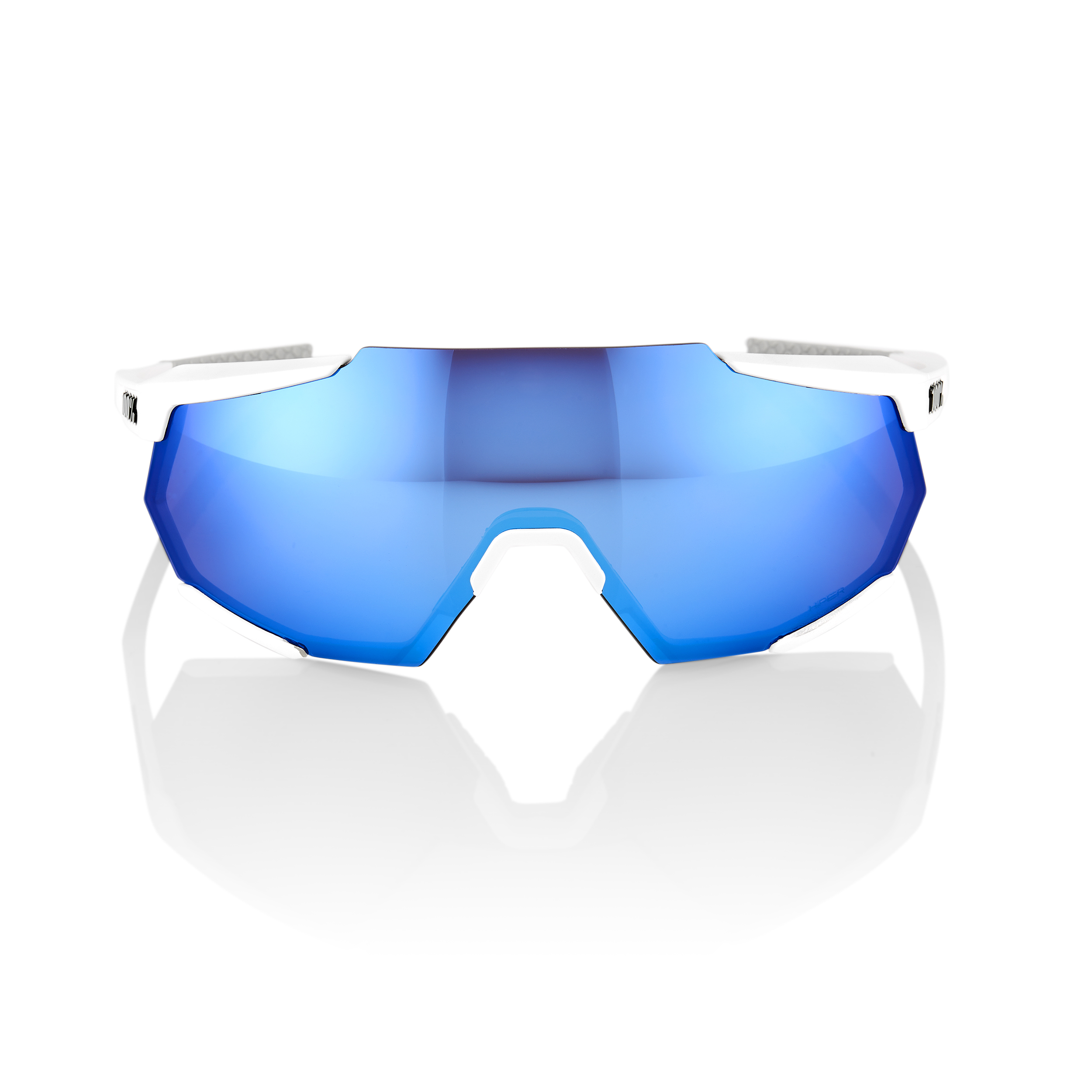 RACETRAP – Matte White – HiPER Blue Multilayer Mirror Lens